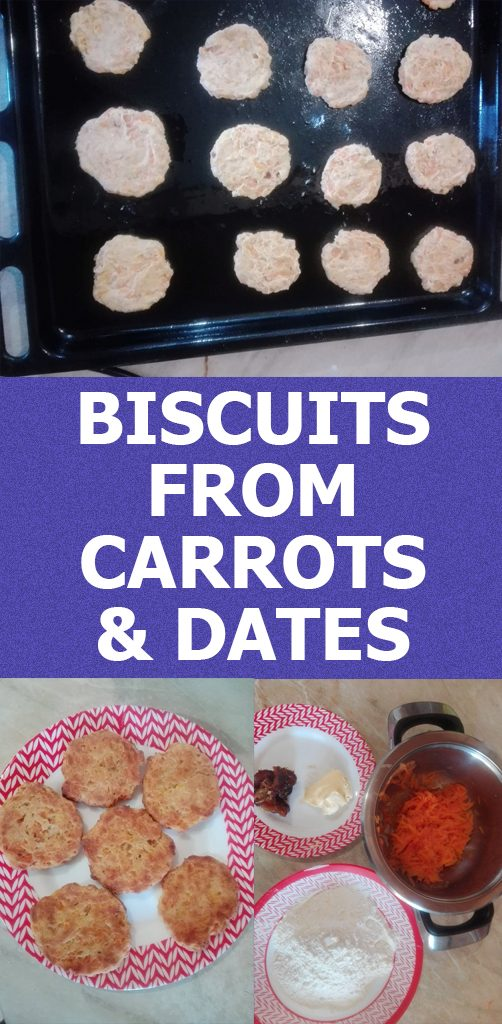 Delicious quick snack biscuits from carrots and dates. The whole process is less then 30 minutes.