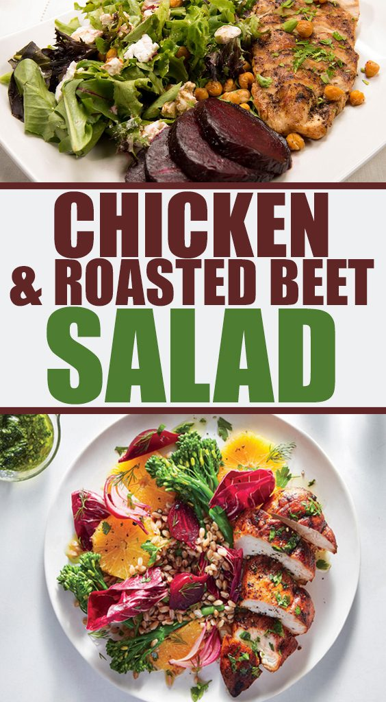 Delicious recipe made of chicken and roasted beet salad.